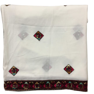 embroidered white shawl