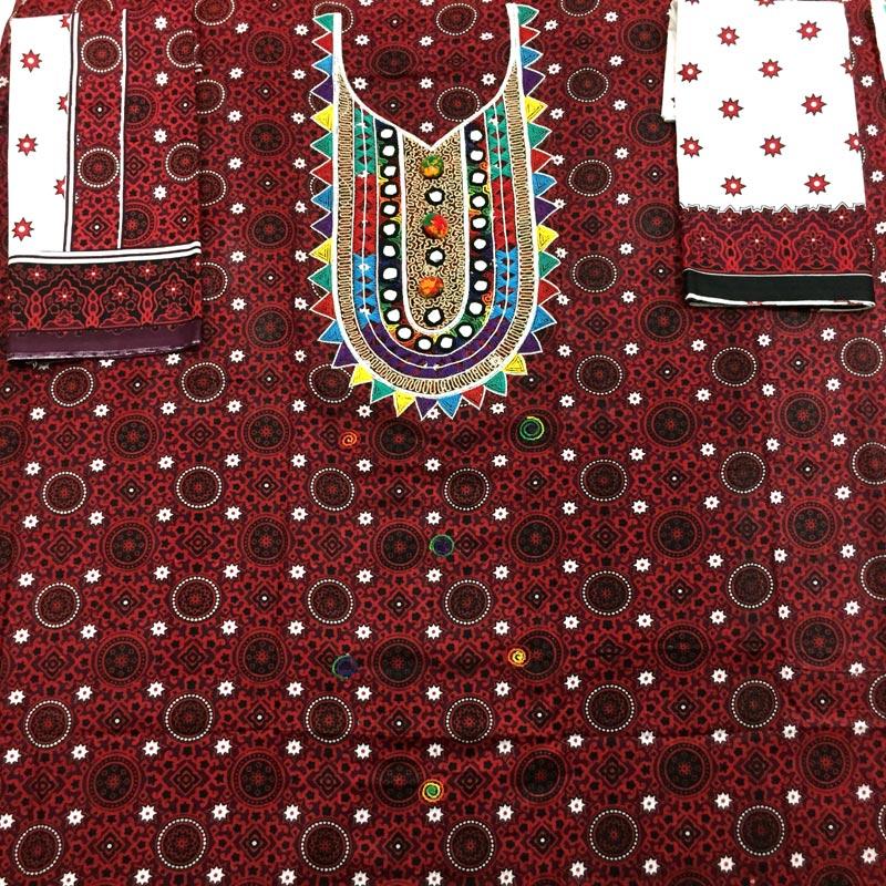 41a5af3a56 ... Hand Embroidered Colorful Ajrak Dress. 🔍. sindhi handmade suit