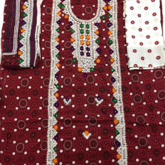 ajrak embroidered dress