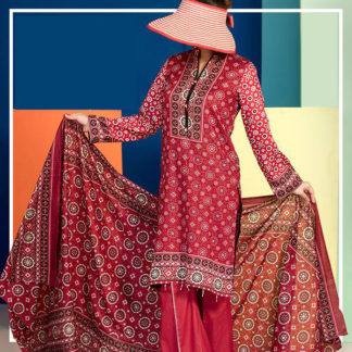 red ajrak dress