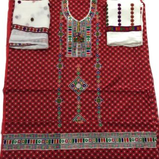 ajrak embroidered dress