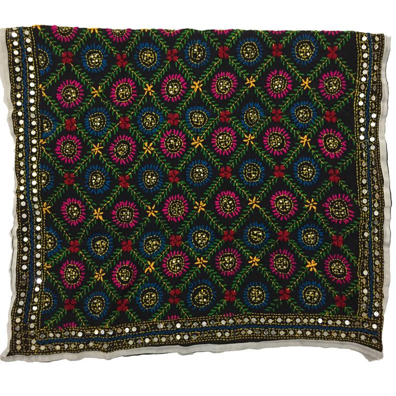Phulkari Dupatta Hand Embroidered in Multi-color. Buy online!