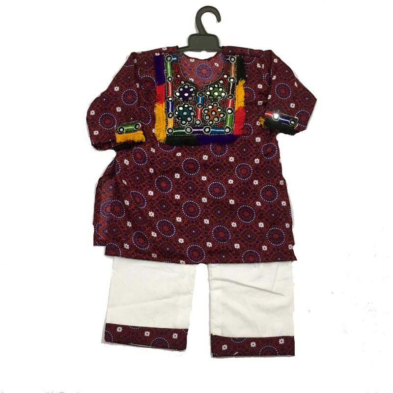 a76f3fa880 Hand Embroidered Sindhi Ajrak Dress for Girls. Buy Online!