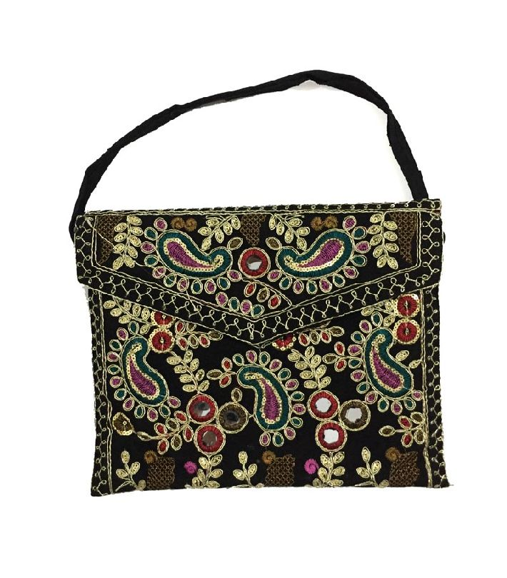 25859bf7ac Colorful Embroidered Mirror Work Hand Bag For Women Girls