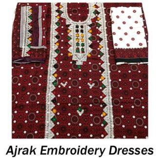 Ajrak Embroidery Dresses