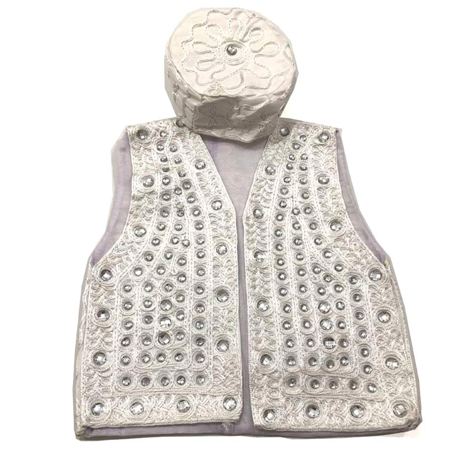 Sindhi Embroidery White Koti Waistcoat And Topi For Kids Buy Online